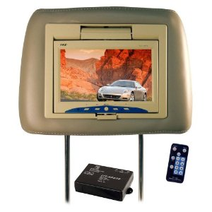 Pyle PL71HRTN Adjustable Headrest w/Built-in 7'' TFT Monitor (Tan)