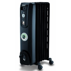 DeLonghi EW7707CB Oil-Filled Portable Radiator with ComforTemp Technology, Black