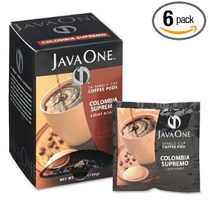 Java One Colombian Supremo Light Roast Coffee, 14-Count Pods (Pack of 6)