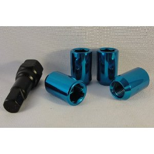 Tuner Style Blue Hex Head Lug Nuts Set of 20 Lugs for Most Jeep Vehicles
