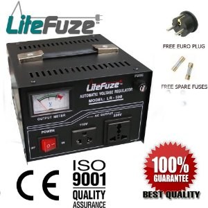 LiteFuze LR-500 500 Watt Heavy Duty Voltage Regulator w/ Voltage Converter Transformer - Step Up/Down 110/120/220/240V (Free Euro Plug) - Patented Universal Output Sockets