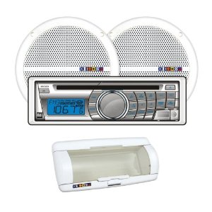 Dual MXCP25S1 In Dash Marine AM/FM/CD/USB Receiver and Speaker Combo Pack with Splashguard