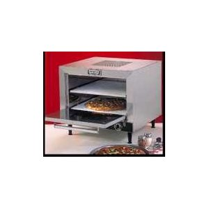 Pizza Oven, electric, countertop, 2-deck, brushed s s front, top & sides, insulated, removable 19'' cordierite decks, tubular heating elements, thermostatic controls 300-700 degF, 60 min. bell timer, 6' cord & 10-30P plug, 240 V, 5400 watts, 2