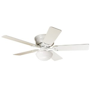 Hunter 20810 Low Profile lll Plus 52-Inch Ceiling Fan with Five Blades, White