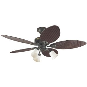 Hunter 23970 Oasis Three-Light 54-Inch Five-Blade Ceiling Fan, New Bronze and Antique Dark Plastic Wicker