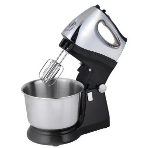 Kalorik M-21847 200-Watt 5-Speed Stand Mixer, Black and Polished Chrome