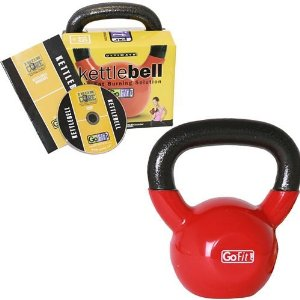 GoFit 15-Pound Red Kettlebell with Vinyl Coating, Iron Core Training DVD and Exercise Booklet