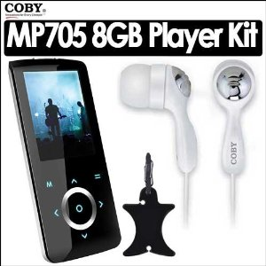 Coby MP705-8G 8GB 2 Inch LCD FM Radio MP3 Touchpad Video Player Bundle With Coby Super Bass Digital Stereo Earphones CVE92 & Nite Ize Curvyman Cord Supervisor Organizer for Headsets