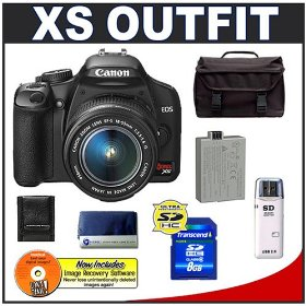 Canon Digital Rebel XS 10.1MP Digital SLR Camera (Black) + Canon EF-S 18-55mm IS Lens + Spare LP-E5 Battery + 8GB Card + Gadget Bag