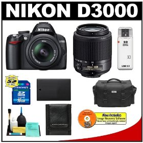 Nikon D3000 10MP Digital SLR Camera with 18-55mm f/3.5-5.6G AF-S DX VR Nikkor Zoom Lens & 55-200mm DX Zoom Lens with 16GB Card + EN-EL9a Battery + Nikon Gadget Bag + Accessory Kit