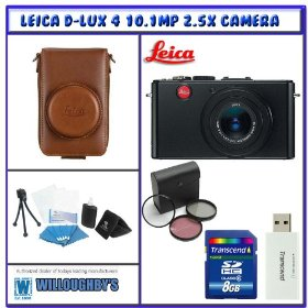 Leica D-Lux 4 10.1MP 2.5X Digital Camera (Black) + Leica Leather Carry Case (Brown) + Willoughby's 8GB Travelers Package