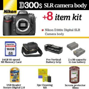 Nikon D300s Digital SLR Camera Body With Essential D300s Accessory Kit Includes 16GB Memory + 2 EN-EL3E Batteries + Pro Vertical Battery Grip + Original Nikon Gadget Bag + More