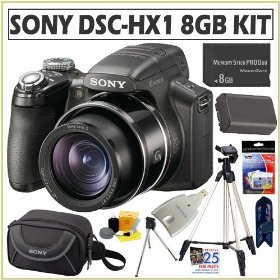 Sony Cybershot DSC-HX1 9MP Digital Camera + 8GB Memory Stick + Extra Battery + Deluxe Accessory Kit
