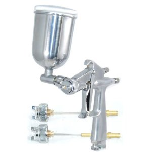.8mm MINI GRAVITY FEED SPRAY GUN WITH .5mm & 1.0mm TIPS & Side Mounted CUP