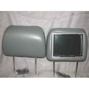 Pair of Brand New Pair of Power Acoustik Hd-8gr Gray Headrests with 8