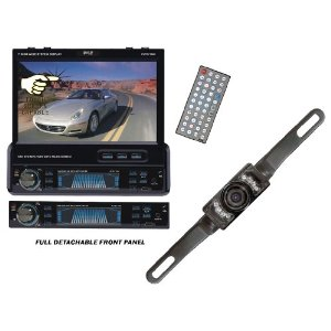 Pyle Full DVD/Camera Package for Car/Truck/SUV - PLTS77DU 7-Inch Single-DIN In-Dash Motorized TFT/LCD Touchscreen Monitor Receiver with DVD/CD/MP3/MP4/USB/SD/AM-FM/RDS + PLCM10 License Plate Mount Rear View camera with Night Vision