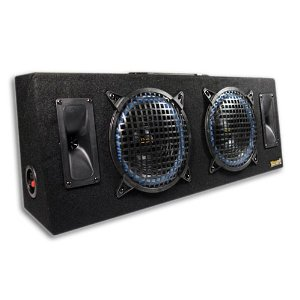 Thump AT-8 800 Watt Dual 8 Inch 2-Way Loaded Subwoofer Box Enclosure w/Compression Horn Tweeters