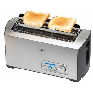 Haier TST240SS Stainless-Steel Long-Slot 4-Slice Digital Toaster