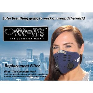 2 Pk Replaceable Filters For The Filt-R Reusable Neoprene Commuter Pollution Mask