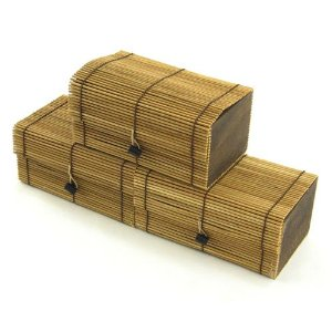 3 pack Decorative Bamboo Box Charcoal Air Freshener, Green or Brown