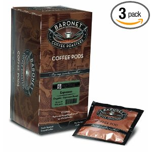 Baronet Coffee Fair Trade Organic Espresso, 18-Count Coffee Pods (Pack of 3)
