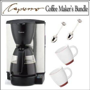 Capresso 44401 MG600 10-cup Programmable Coffee Maker With Glass Carafe With Two Bistro Coffee Cups And Two Cup & saucer Demi Spoons