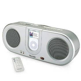 IHome iH31S - Boombox for iPod and iPod Shuffle With Remote. MP3 Player and FM Radio - SILVER