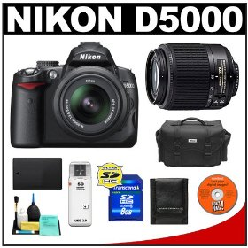 Nikon D5000 Digital SLR Camera w/ 18-55mm VR Lens + 55-200mm Zoom Lens + 8GB Memory Card + Spare EN-EL9 Battery + Case + Cameta Bonus Accessory Kit
