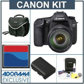 Canon EOS-7D Digital SLR Camera / Lens Kit with EF 28-135mm f/3.5-5.6 IS USM Standard Zoom Lens, 8GB CF Memory Card, Spare Canon LP-E6 Battery, Slinger Camera Bag, Visible Dust EZ Sensor Cleaning Kit