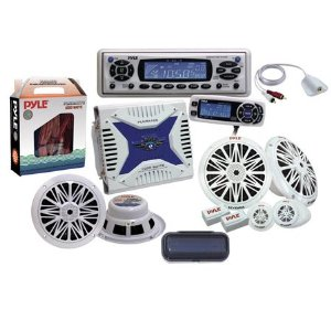 Pyle Hydra Series Marine CD/MP3 Receiver Package with Amp, Component Speakers System, and Housing
