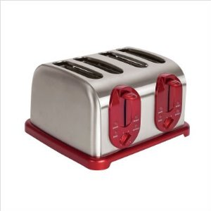 Kalorik TO30865 1500-Watt Red-Metallic 4-Slice Toaster