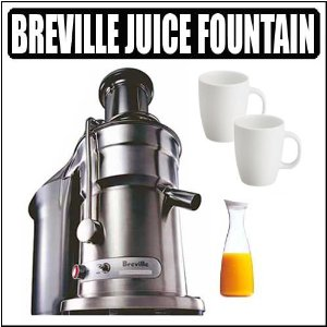 Breville Die-Cast 800JEXL 1000-watt Juice Fountain Elite With Juice Jar and Mugs