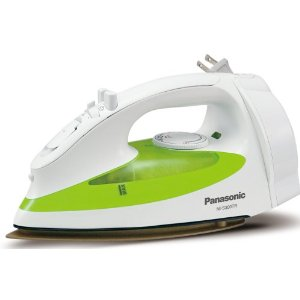 Panasonic NI-S300TR 1200-Watt Steam Iron with Curved Titanium-Coated Soleplate, White/Green