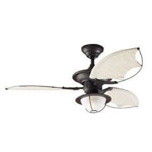 Hunter 25522 Sanibel One-Light  Three-Blade Ceiling Fan with Cloth Blades, New Bronze