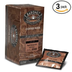 Baronet Coffee Fresh Roasted Dark Kenya AA Dark Roast (12 g) Coffee Pods, 16-Count Pods (Pack of 3)