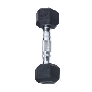 Cap Barbell Rubber Coated Hex Dumbbell with Contoured Chrome Handle (5-Pound)