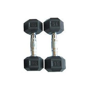 25 lb. Rubber Encased Hex Dumbbells (Pair)