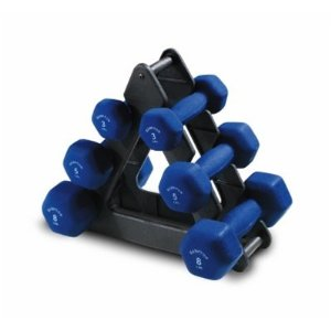 Hampton Fitness 3, 5, and 8 lbs. Hexagon Neoprene Dumbbell Set with Stand