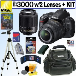 Nikon D3000 10MP Digital SLR Camera with 18-55mm f/3.5-5.6G AF-S DX VR and 55-200mm f4-5.6G ED AF-S DX Zoom-Nikkor Lenses + 8GB Deluxe Accessory Kit
