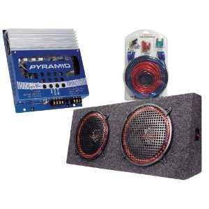 Pyramid Top Value Amplifier/Speaker package for the Car/Truck/SUV --- 400w 2-Channel MOSFET Amplifier + Dual 12-inch 360w 4-Way Stereo Hatchback Speaker System + 1000w 20 ft. Amplifier Installation Wiring Kit