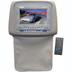 PYLE PLD72TN Adjustable Headrests w/ Built-In 7'' TFT/LCD Monitor w/ Built in DVD Player & IR/FM Transmitter With Cover (Tan)