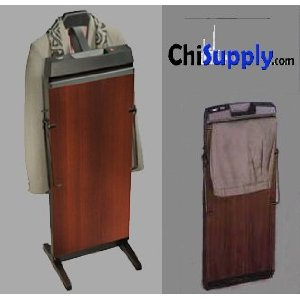 Corby 7700 Pants Press Valet Walnut Wood Effect with Black Trim By ChiSupply