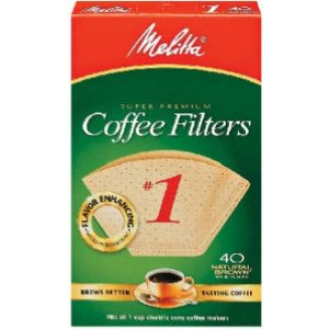 Melitta 620122 40 Count #1 Natural Brown Cone Coffee Filters