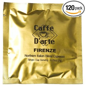 Caffe D'arte Firenze Northern Italian Blend Expresso, 45mm-Hard Espresso Pods (Pack of 120)