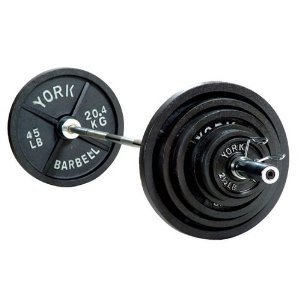 York Barbell 300 lb Olympic Weight Set With Bar and Collars