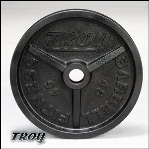 Troy Premium Wide Flanged Olympic Weight Plates - Black - 100 Pound - 1 Pair