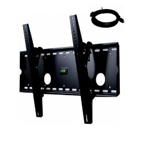 VideoSecu Black TILTING - Wall Mount Bracket Free 6ft HDMI Cable for Pioneer MC505HD MC-505HD PDK50HW2 PDK-50HW2 - 50