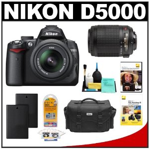 Nikon D5000 Digital SLR Camera w/ 18-55mm VR Lens + 55-200mm VR Zoom Lens + Two (2) Spare EN-EL9 Batteries + Case + LCD Protectors + Cleaning Kit + 2 Nikon School DVDs