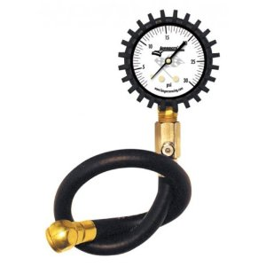 "Longacre Racing Standard Tire Air Pressure Gauge 0-30 PSI by 1/2lb w/ 14"" Ultra Flex Hose2"" White Face"