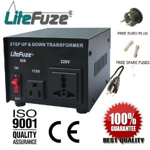 LiteFuze VT-500 500 Watt Heavy Duty Voltage Converter Transformer - Step Up/Down 110/120/220/240V - Fully Grounded Cord (Free Euro Plug)